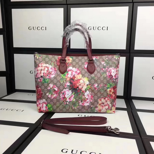 8de75b706a7 Gucci 453705 Soft GG Blooms tote shoulder red pvc leather