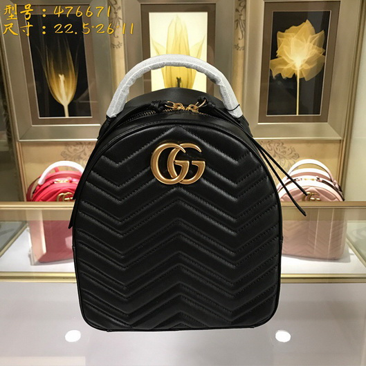 7f12836f979 Gucci 476671 Designer GG Marmont quilted leather backpack black