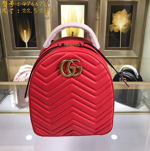 f619e8fa554 Gucci 476671 Designer GG Marmont quilted leather backpack red